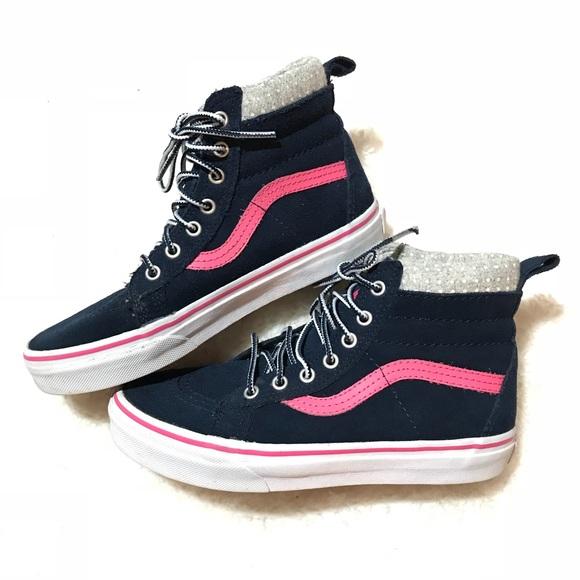 e4d6b818156ee0 Girls Kids Vans Navy Pink White Polka Dot Sk8 HI. M 5b32dd1c619745a112e7a66a